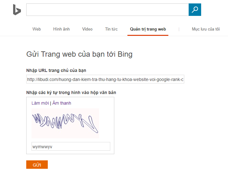 Submit url Bing